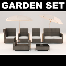 Garden Furniture Set with Shade 3D Model