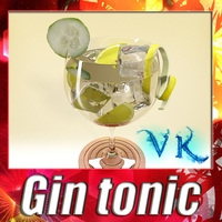High Detailed Liquor Glass - Gin tonic 3D Model