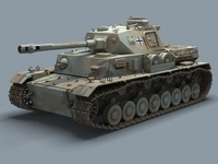 WW2 German Tank Panzer 3D Model