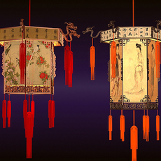 Chinese Lanterns Detailed 3D Model