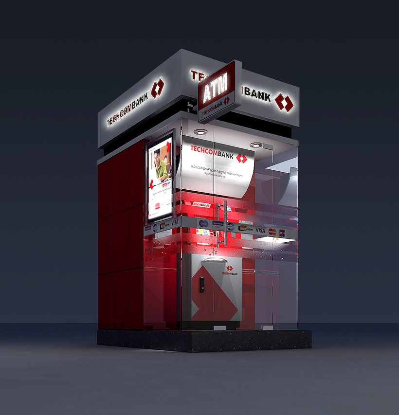 Detailed ATM Machine Kiosk 3D Model