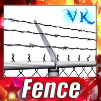 3D Model Chainlink fence Barbed wire High detail 3D Model