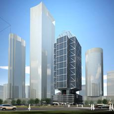 3D Model Detailed office Building 3D Model