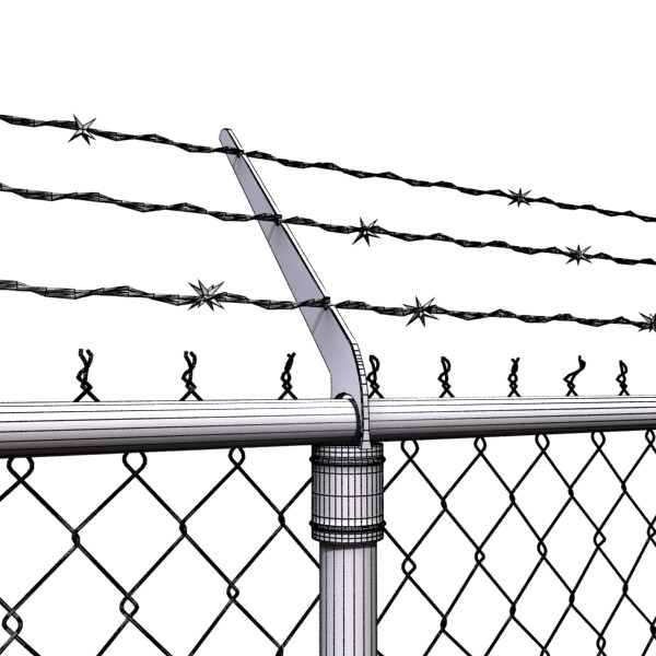 3d model chainlink fence barbed wire high detail 3d model for 3d fence