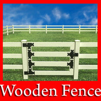 3D Model Wooden fence high detail 3D Model