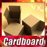 Photoreal Cardboard Carton High Res 3D Model