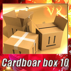Photorealistic Cardboard Box High Res 3D Model