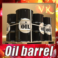 3D Model Metal Oil Drums & Pallet High Resolution 3D Model