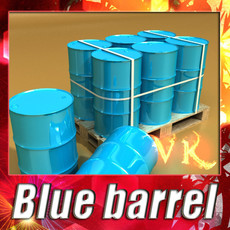 3D Model Blue Metal Drums & Pallet High Resolution 3D Model