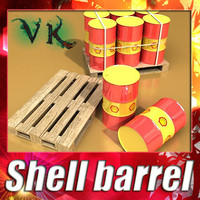 3D Model Shell Oil Metal Drums & Pallet 3D Model