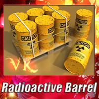 3D Model Radioactive Metal Drums & Pallet 3D Model
