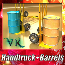 3D Model Hand Truck & 55 Gallon Drums High Res 3D Model