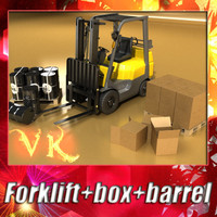 3D Model Lift Truck, Pallet, Cartons & Metal Drums 3D Model