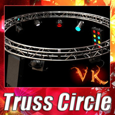 3D Model Circle Truss with Stage Lights High Detail 3D Model
