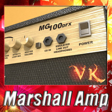 3D Model Marshall Amplifier 100 w High Detail 3D Model