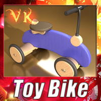 3D Model Wooden Riding Toy Bike 3D Model