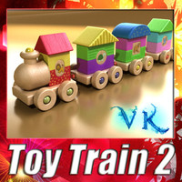 3D Model Wooden Toy Train High Res 3D Model