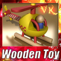 3D Model Wooden Toy Helicopter 3D Model