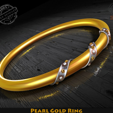 Pearl Gold Ring 3D Model