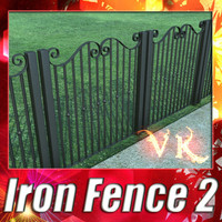 3D Model Wrought Iron Fence 02 3D Model