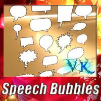 3D Model 23 Speech Bubbles Collection. 3D Model