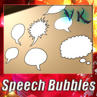 3D Model 12 Speech Bubbles Collection 3D Model