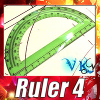 3D Model Plastic Protractor Ruler 04 3D Model
