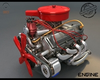 Turbo v8 Engine 3D Model