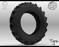 Power Lug Tire 3D Model