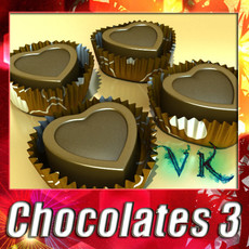3D Model Chocolate Candy Heart Shaped 3D Model