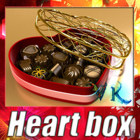 3D Model Chocolate Candy Pieces in Heart Box 8 3D Model