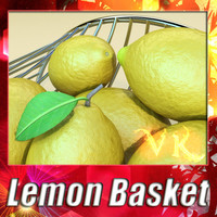 3D Model Lemons in Decorative Metal Wire Container 3D Model