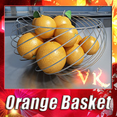 Oranges in Metal Wire Decorative Basket 3D Model
