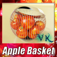 3D Model Red Apples in Decorative Metal Wire Container 3D Model