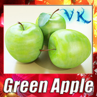 Green Apple High Detailed 3D Model
