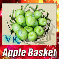 3D Model Green Apples in Decorative Metal Bowl 3D Model