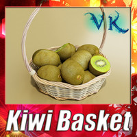 3D Model Kiwi Fruit in Basket 3D Model