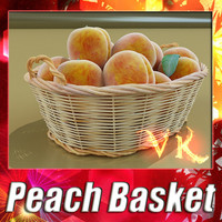 3D Model Peaches in Basket 3D Model