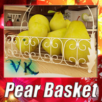3D Model Pears in Metal Basket 3D Model