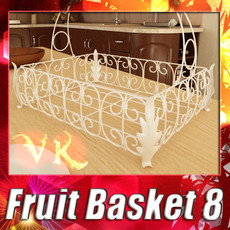 Fancy Metal Fruit Basket 08 3D Model