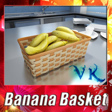 3D Model Bananas in Wicker Basket 09 3D Model