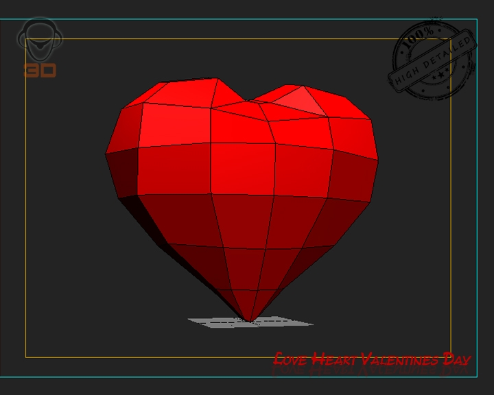 3D Love Heart Valentines Day 3D Model