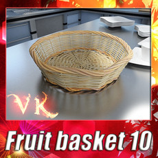 Wicker Fruit or Bread Basket 3D Model