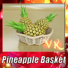 3D Model Pineapples in Wicker Basket 10 3D Model