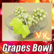 3D Model Green Grapes in Glass Bowl 3D Model