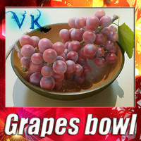 3D Model Red Grapes in Bowl 12 3D Model
