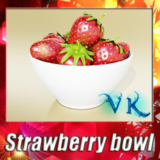 3D Model Photorealistic Strawberries in Bowl 3D Model