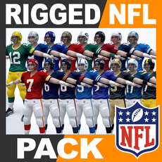 NFL Players Pack Rigged 3D Model