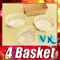 Wicker basket collection 4 items 3D Model