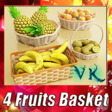 Fruits & Basket Collection 3D Model